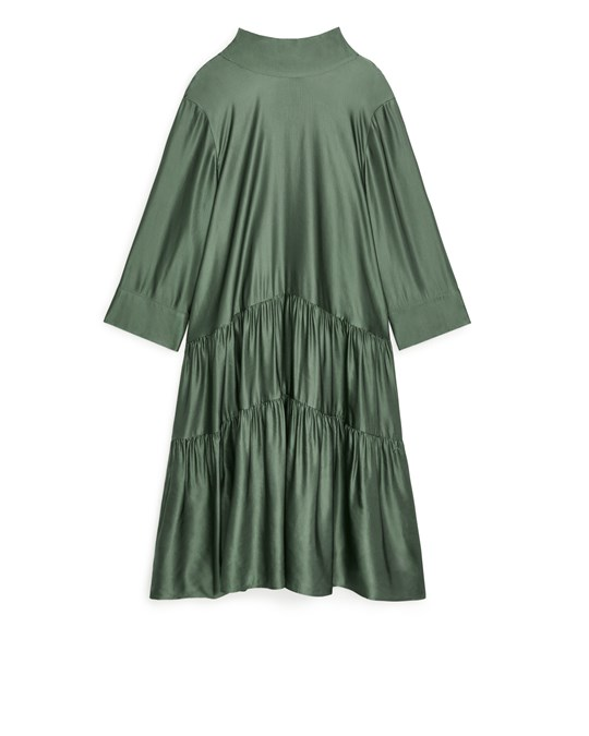 Arket Lustrous Gathered Dress Khaki Green