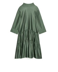 Lustrous Gathered Dress Khaki Green