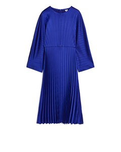 Pleated Satin Dress Blue