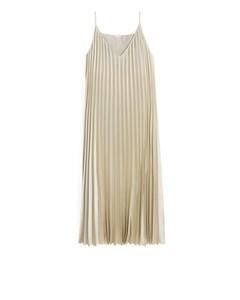 Pleated Satin Slip Dress Beige