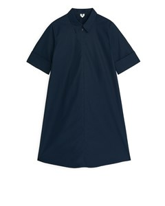 A-line Cotton Dress Dark Blue