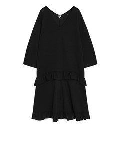 Oversized Frill Dress Black