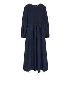 Shirred Voile Dress Dark Blue