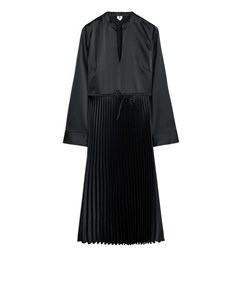 Pleated Satin Dress Black