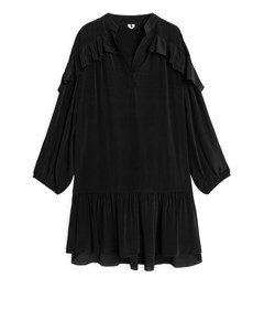 Flouncy Ruffled Dress Black