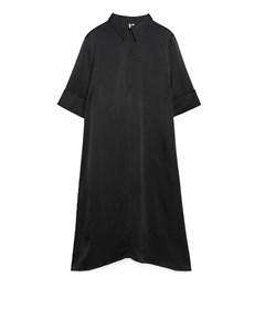 A-line Satin Dress Black