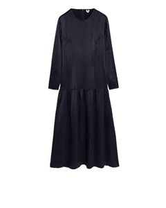 Drop-waist Satin Dress Dark Blue