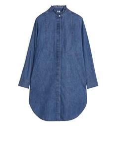 Frill-collar Denim Dress Blue