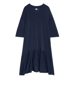 Fluted Knit Dress Dark Blue