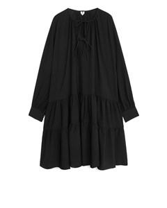 Ruffled Crêpe Dress Black