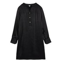Long-sleeved Satin Dress Black