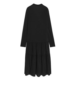 Lustrous Jersey Gathered Dress Black