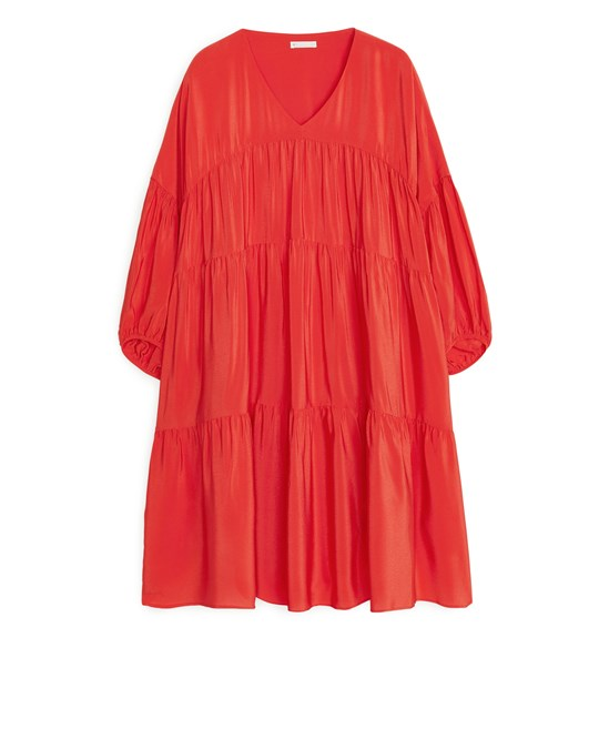 Arket Short Ruffled Dress Red