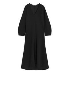 Fluted Crêpe Dress Black