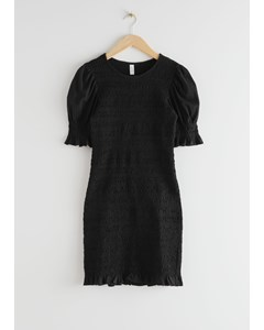 Smocked Mini Dress Black