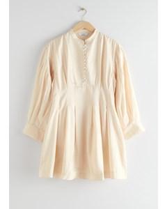 Voluminous Silk Mini Dress White