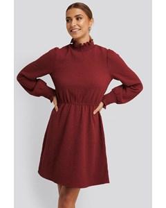 Structured Smock Detail Dress Dark Red