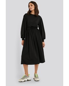 Gathered Waist Jersey Dress Black