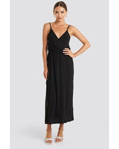 Plisse Wrap Midi Dress Deep Black