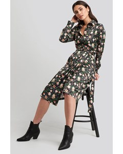 Belted Wrap Midi Dress Floral Print