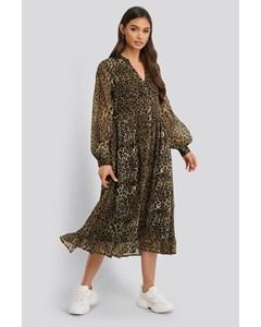 Flowy Midi Flounce Dress Leoprint