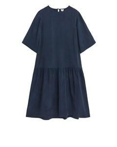 Drop-waist Cupro Dress Dark Blue