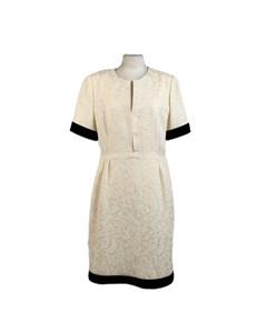 Galitzine Vintage White Jacquard Sheath Short Sleeve Dress