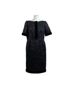 Galitzine Vintage Black Jacquard Sheath Short Sleeve Dress