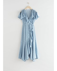 Asymmetric Wrap Midi Dress Blue Florals