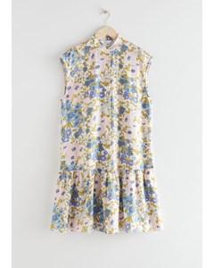 Voluminous Buttoned Midi Dress Blue Florals