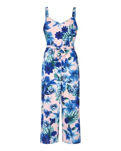 Tropical Summer Culotte Jumpsuit Pink