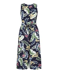 Tropical Culotte Jumpsuit Navy