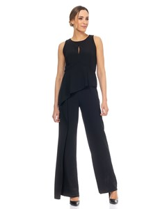 Jumpsuit With Flounce And back Neckline  Black