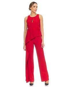 Jumpsuit With Flounce And back Neckline  Red