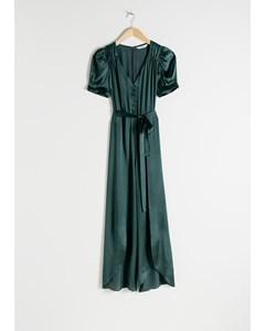 Puff Sleeve Silk Jumpsuit Emerald