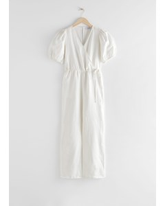 Puff Sleeve Linen Jumpsuit White