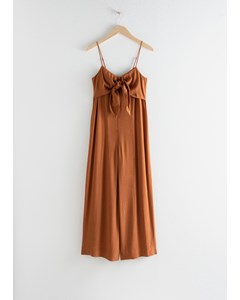 Relaxed Tie Bow Jumpsuit Rust