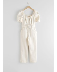 Belted Puff Sleeve Jumpsuit White