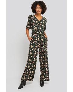 Puff Sleeve Wide Leg Jumpsuit Floral Print