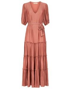 Satin Polka Dot Felicitations Maxi Dress In Blush Pink