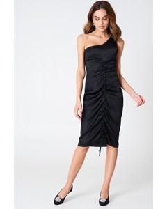 One Shoulder Drawstring Dress  Black