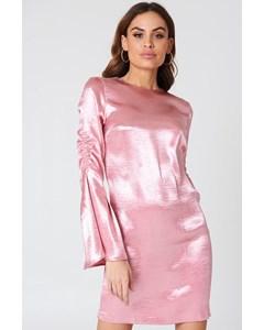 Metallic Gathered Sleeve Mini Dress - Ballet Pink