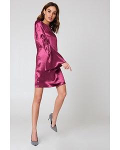 Metallic Gathered Sleeve Mini Dress - Burgundy