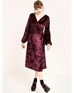 Sleeve Detail Midi Wrap Dress-1 Purple