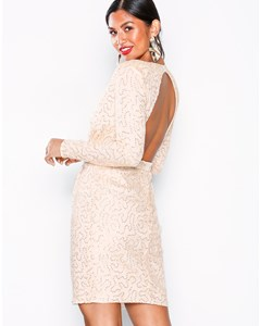 Open Back Lace Draped Dress Champagne