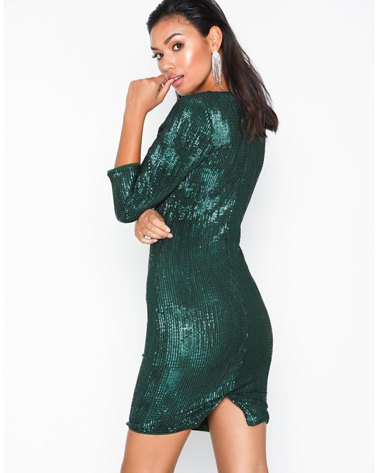 NLY by Nelly Sequin Power Dress Green