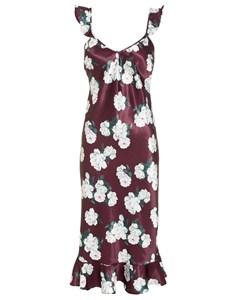 Low Frill Midi Dress Plum Flower