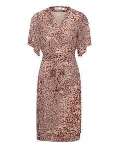 Tallyiw Dress Russet Brown Diagonal Flower