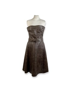 Miu Miu Brown Distressed Leather Bustier Dress Size 44