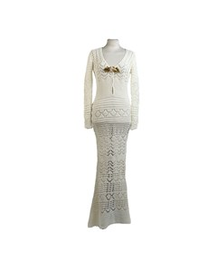 Emilio Pucci By Peter Dundas 2011 White Crochet Maxi Dress Size 40